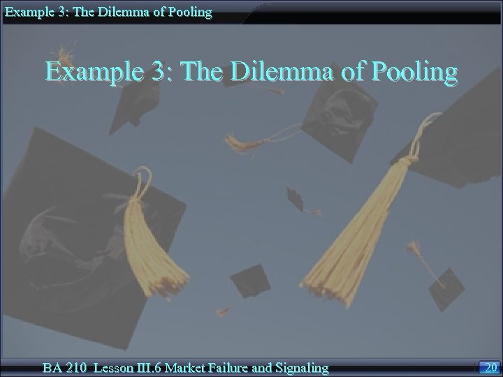 Example 3: The Dilemma of Pooling BA 210 Lesson III. 6 Market Failure and