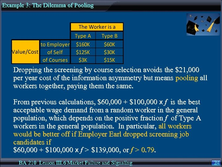 Example 3: The Dilemma of Pooling Dropping the screening by course selection avoids the