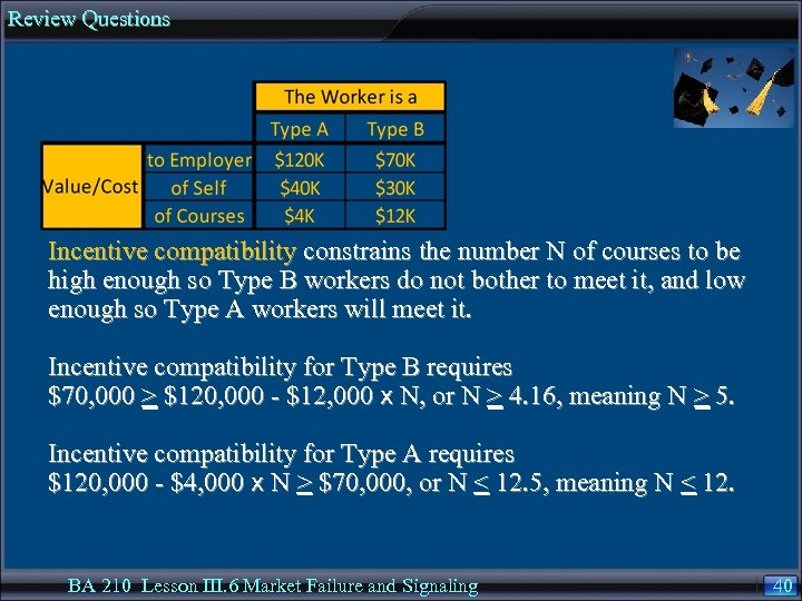 Review Questions Incentive compatibility constrains the number N of courses to be high enough