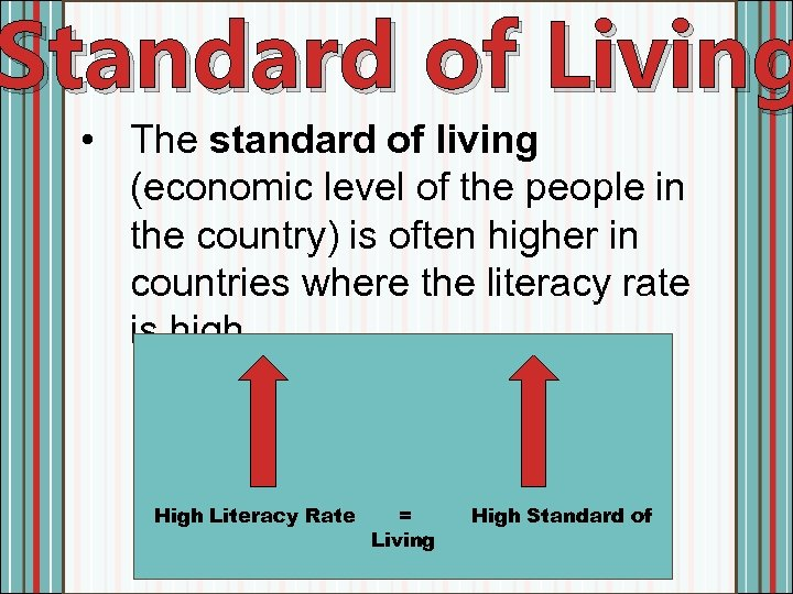 Standard of Living • The standard of living (economic level of the people in