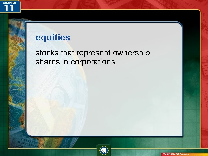 equities stocks that represent ownership shares in corporations