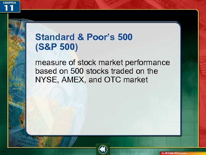 Standard & Poor's 500 (S&P 500) measure of stock market performance based on 500