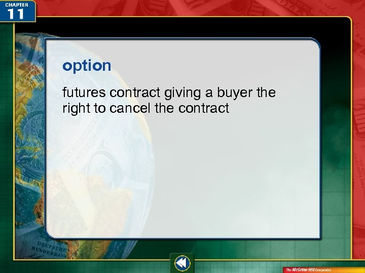 option futures contract giving a buyer the right to cancel the contract