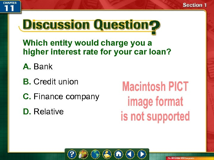 Which entity would charge you a higher interest rate for your car loan? A.