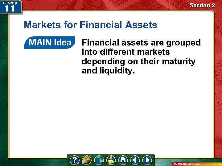 Markets for Financial Assets Financial assets are grouped into different markets depending on their