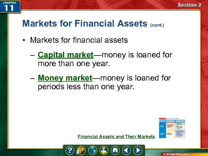 Markets for Financial Assets (cont. ) • Markets for financial assets – Capital market—money