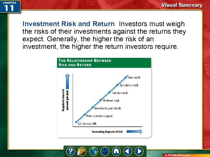 Investment Risk and Return Investors must weigh the risks of their investments against the