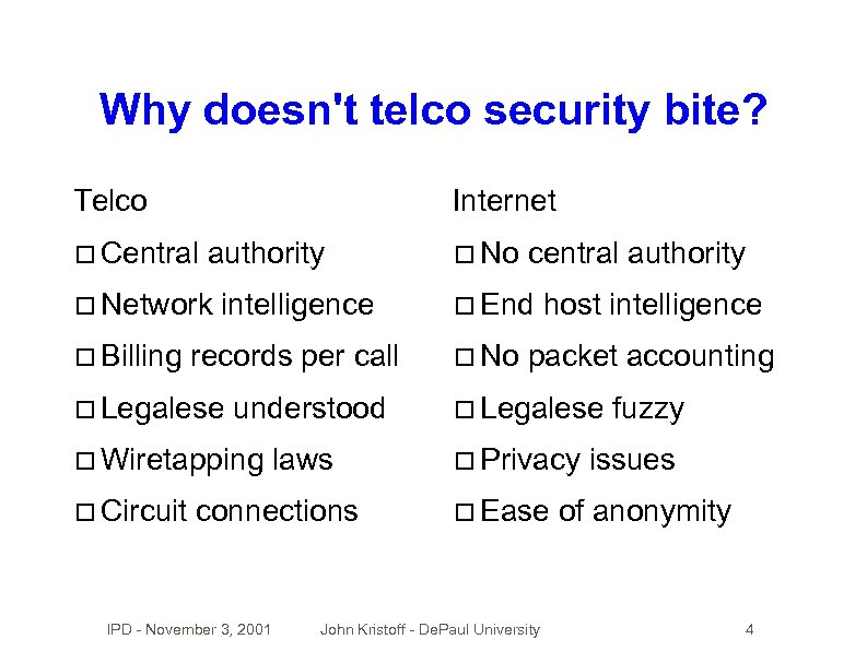 Why doesn't telco security bite? Telco Internet Central authority Network Billing intelligence records per