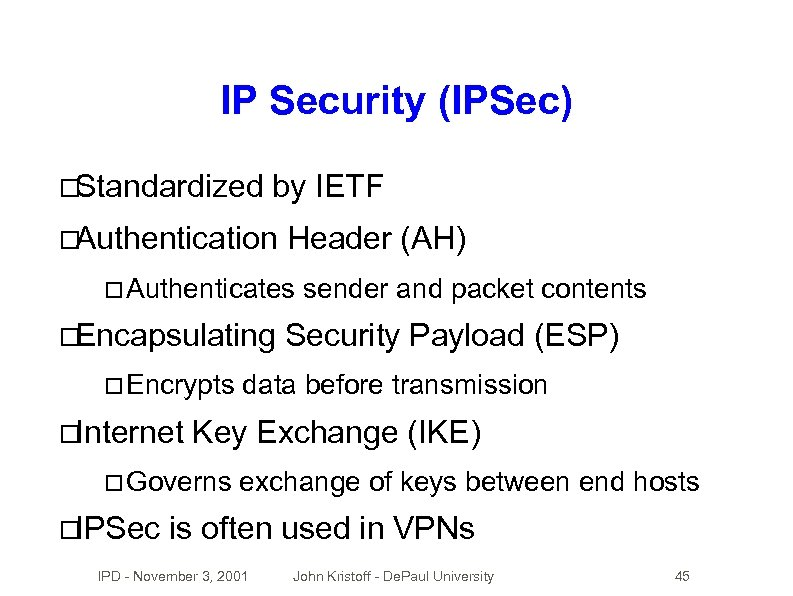 IP Security (IPSec) Standardized by IETF Authentication Header (AH) Authenticates Encapsulating Encrypts Internet Security