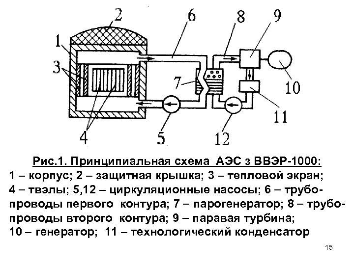 Рис. 1. Принципиальная схема АЭС з ВВЭР-1000: 1 корпус; 2 – защитная крышка; 3