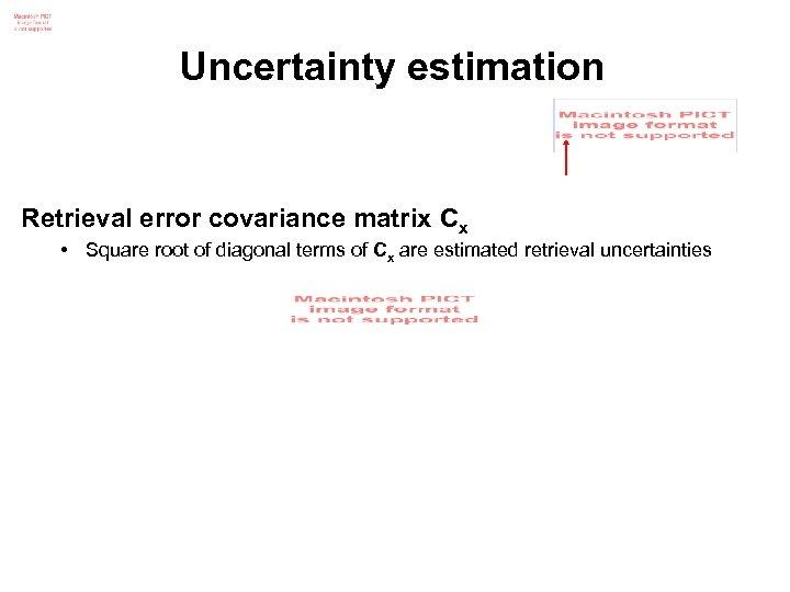 Uncertainty estimation Retrieval error covariance matrix Cx • Square root of diagonal terms of
