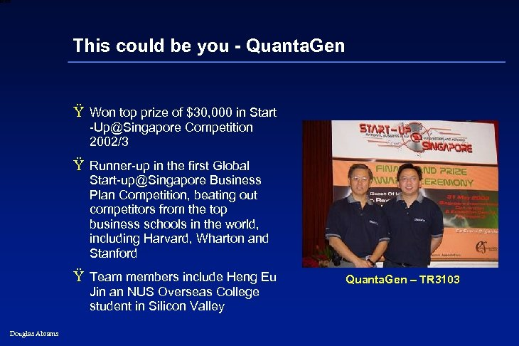 6 XXXX This could be you - Quanta. Gen Ÿ Won top prize of
