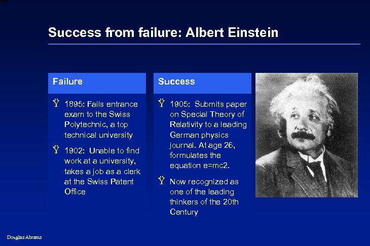 6 XXXX Success from failure: Albert Einstein Failure Success Ÿ 1895: Fails entrance Ÿ