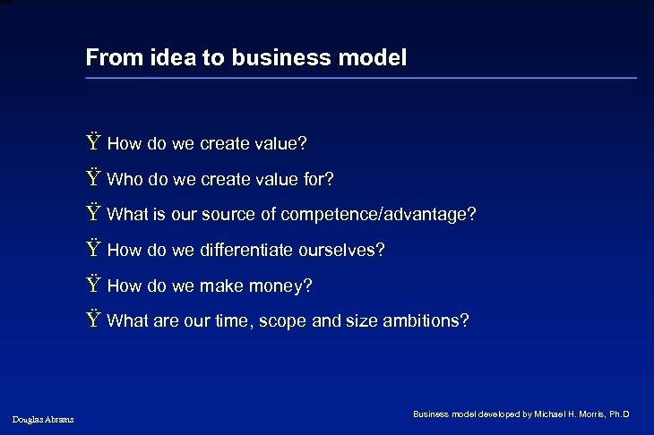 6 XXXX From idea to business model Ÿ How do we create value? Ÿ