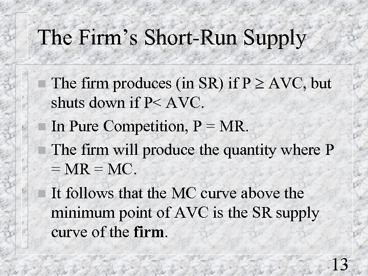The Firm's Short-Run Supply The firm produces (in SR) if P ³ AVC, but