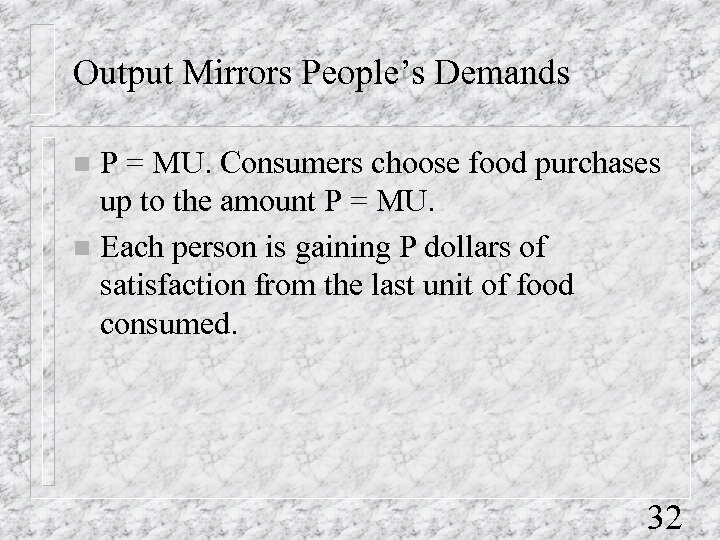 Output Mirrors People's Demands P = MU. Consumers choose food purchases up to the