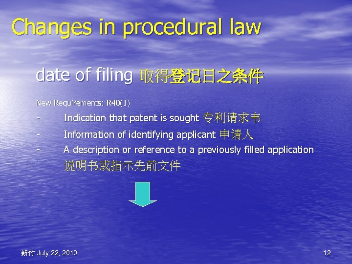 Changes in procedural law date of filing 取得登记日之条件 New Requirements: R 40(1) - Indication