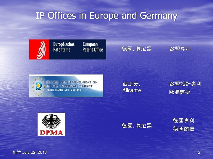 IP Offices in Europe and Germany 德國, 慕尼黑 歐盟專利 西班牙, Alicante 歐盟設計專利 德國, 慕尼黑