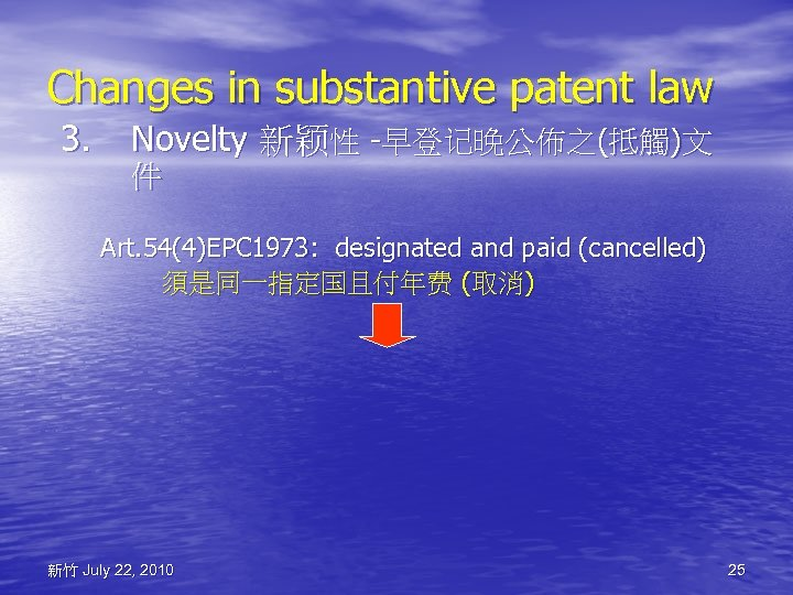Changes in substantive patent law 3. Novelty 新颖性 -早登记晚公佈之(抵觸)文 件 Art. 54(4)EPC 1973: designated