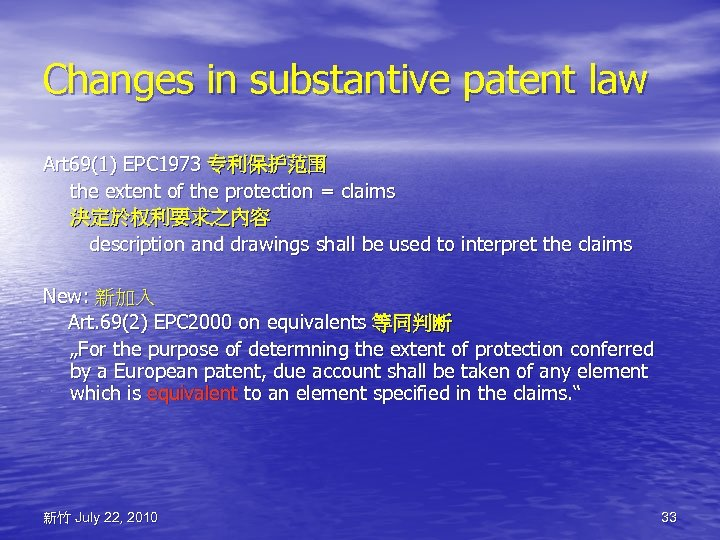 Changes in substantive patent law Art 69(1) EPC 1973 专利保护范围 the extent of the