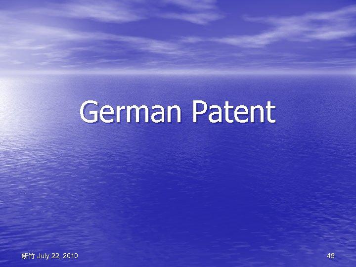 German Patent 新竹 July 22, 2010 45