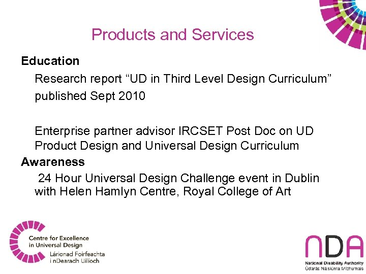 """Products and Services Education Research report """"UD in Third Level Design Curriculum"""" published Sept"""