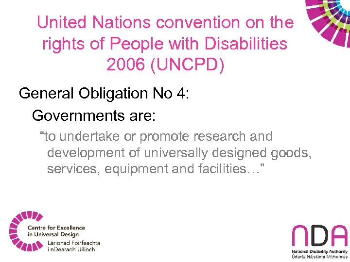 United Nations convention on the rights of People with Disabilities 2006 (UNCPD) General Obligation
