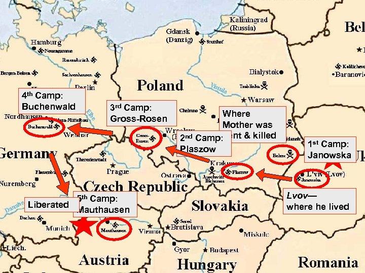 4 th Camp: Buchenwald 3 rd Camp: Gross-Rosen 5 th Camp: Liberated Mauthausen Where