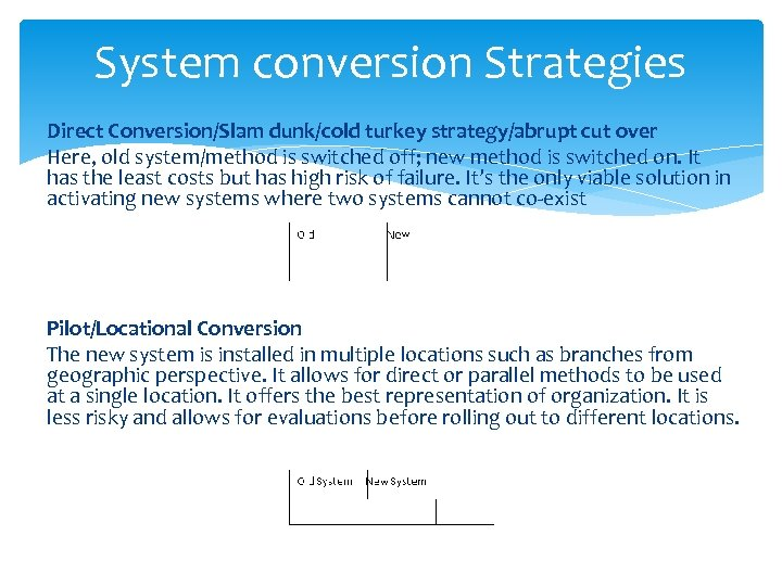 System conversion Strategies Direct Conversion/Slam dunk/cold turkey strategy/abrupt cut over Here, old system/method is