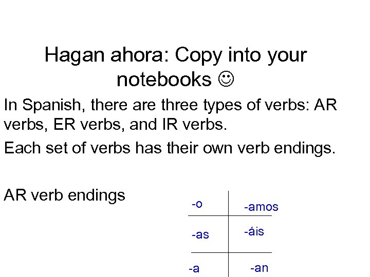 Hagan ahora: Copy into your notebooks In Spanish, there are three types of verbs: