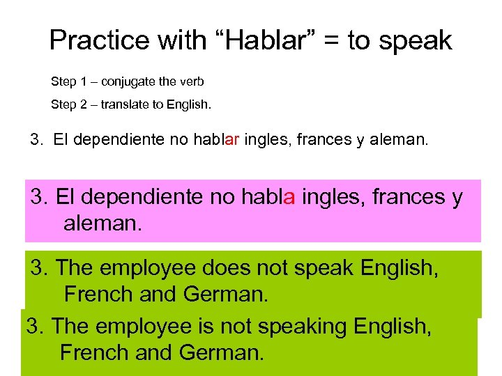 "Practice with ""Hablar"" = to speak Step 1 – conjugate the verb Step 2"