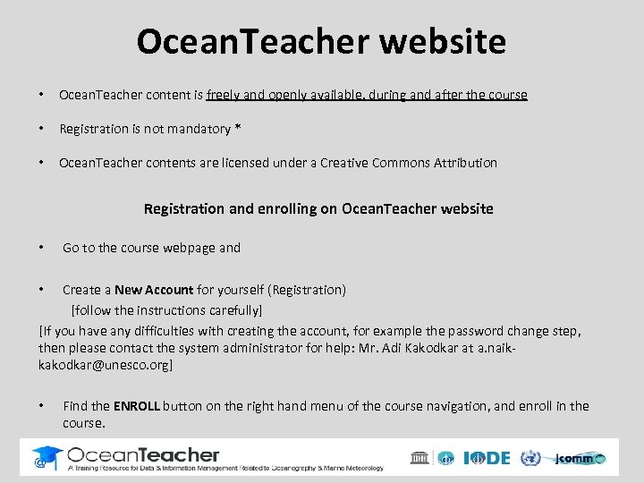 Ocean. Teacher website • Ocean. Teacher content is freely and openly available, during and