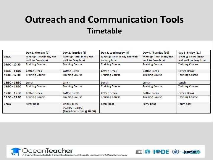 Outreach and Communication Tools Timetable