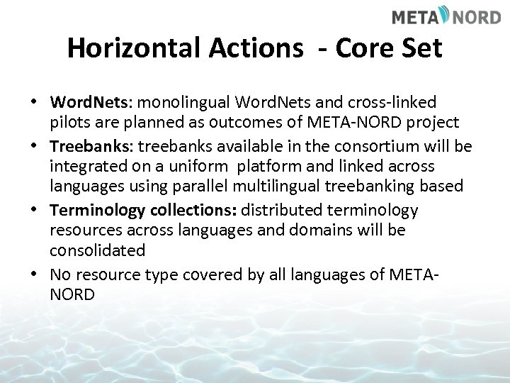 Horizontal Actions - Core Set • Word. Nets: monolingual Word. Nets and cross-linked pilots