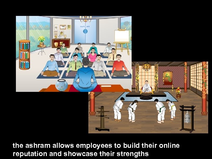 the ashram allows employees to build their online reputation and showcase their strengths