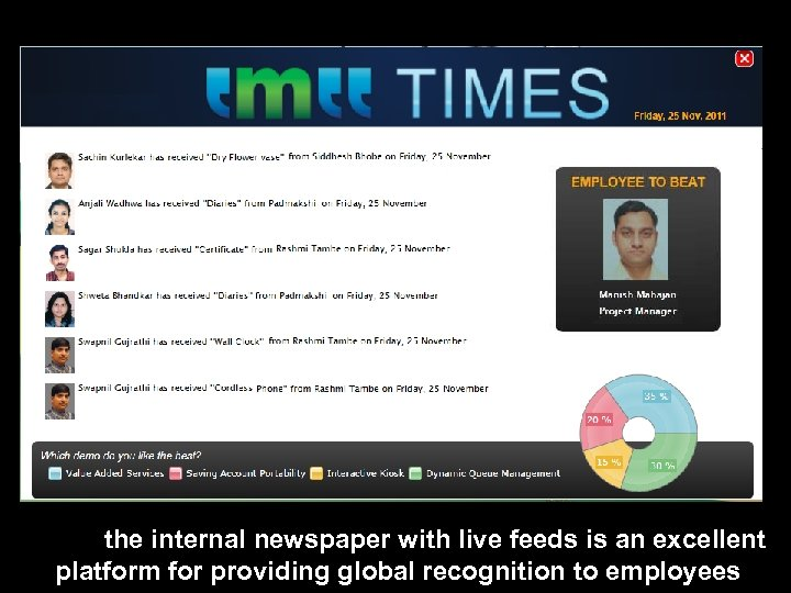 the internal newspaper with live feeds is an excellent platform for providing global recognition