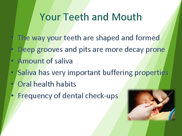 Your Teeth and Mouth • • • The way your teeth are shaped and