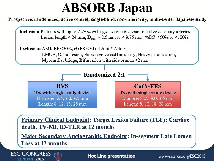 ABSORB Japan Prospective, randomized, active control, single-blind, non-inferiority, multi-center Japanese study Inclusion: Patients with