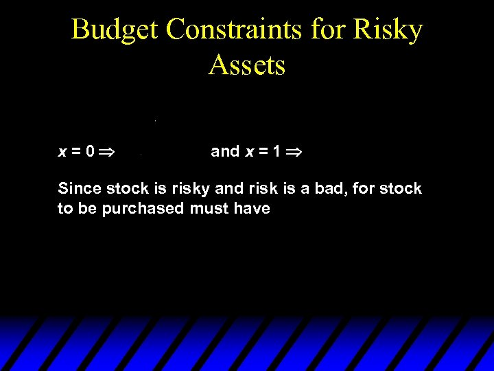 Budget Constraints for Risky Assets x=0 and x = 1 Since stock is risky