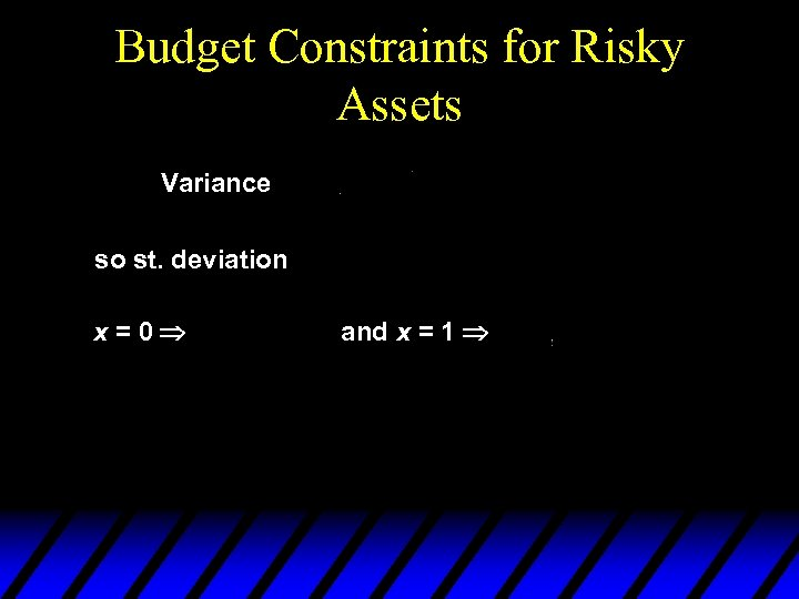 Budget Constraints for Risky Assets Variance so st. deviation x=0 and x = 1