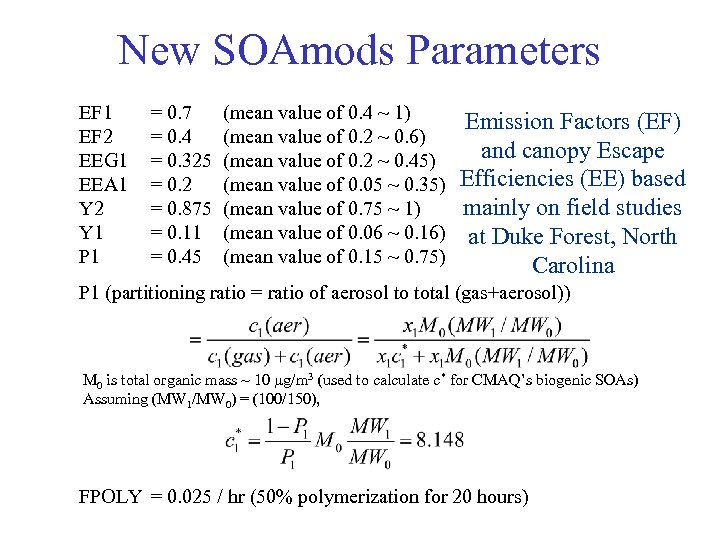 New SOAmods Parameters EF 1 EF 2 EEG 1 EEA 1 Y 2 Y