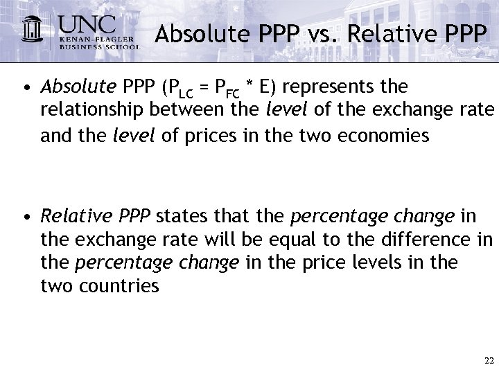 Absolute PPP vs. Relative PPP • Absolute PPP (PLC = PFC * E) represents
