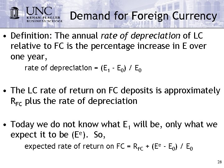 Demand for Foreign Currency • Definition: The annual rate of depreciation of LC relative