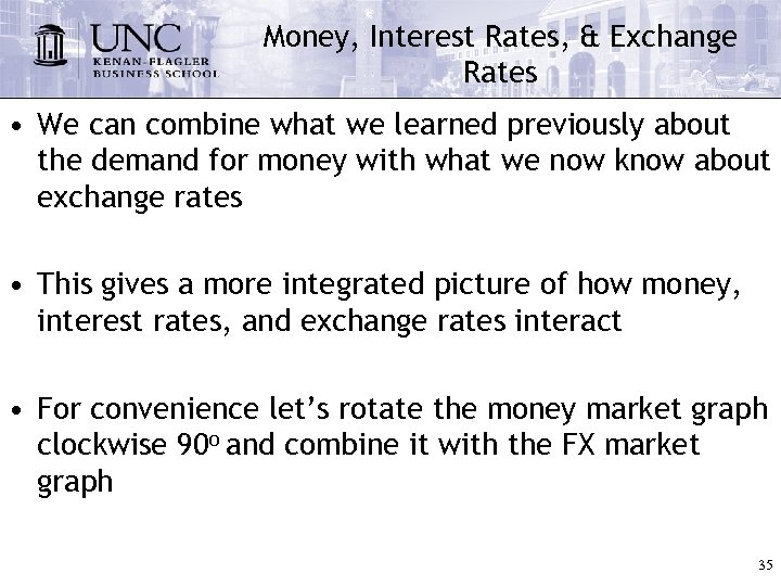 Money, Interest Rates, & Exchange Rates • We can combine what we learned previously