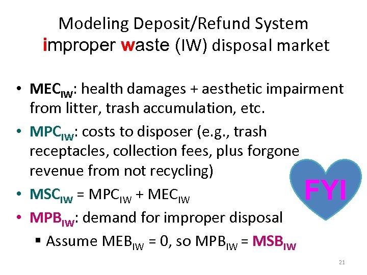 Modeling Deposit/Refund System improper waste (IW) disposal market • MECIW: health damages + aesthetic