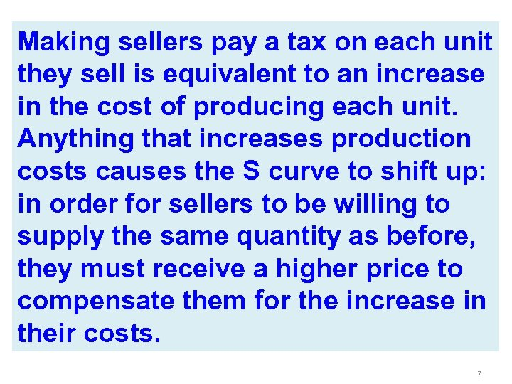 Making sellers pay a tax on each unit they sell is equivalent to an