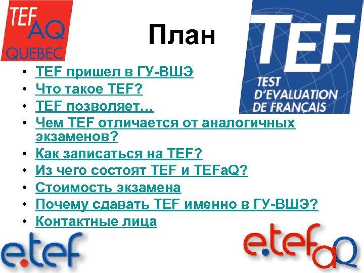 План • • • TEF пришел в ГУ-ВШЭ Что такое TEF? TEF позволяет… Чем