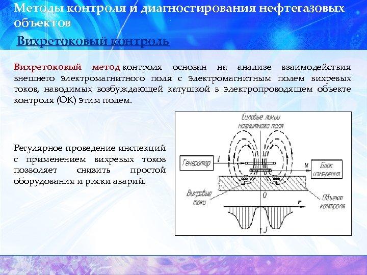 Методы контроля и диагностирования нефтегазовых объектов Вихретоковый контроль Вихретоковый метод контроля основан на анализе
