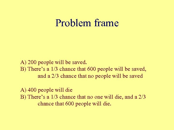 Problem frame A) 200 people will be saved. B) There's a 1/3 chance that