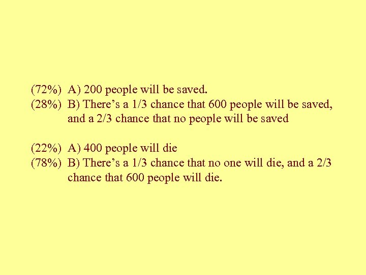 (72%) A) 200 people will be saved. (28%) B) There's a 1/3 chance that